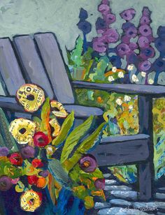 Flowers Garden Chair Original Painting - shelli walters