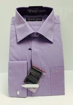 Stacy Adams Dk Lavender Men's Long Sleeve Dress Shirt with Pocket & French Cuffs #StacyAdams