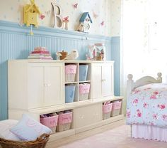 Too cute! Love the blue bead board and the sweet bird houses.   Pottery Barn Kids (my home away from home, Target being my other home, of course)