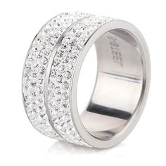 Pave Crystal Stainless Steel Fashion Ring | 6 Rows