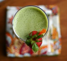 This Verde Coco-Berry Smoothie combines greens, strawberries, and coconut into one tasty glass.