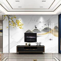 Marble Gingko Fortune Landscape Wallpaper - 64W x 40H inches / Peel & Stick Paper