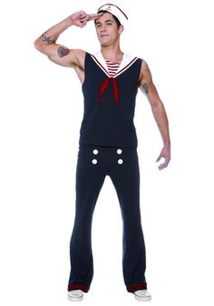 You'll be ready to hit the deck in this Mens Deckhand Sailor Costume. This traditional costume makes a great sailor couples costume idea.