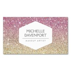 ELEGANT WHITE EMBLEM ON PINK OMBRE GLITTER BUSINESS CARD. This is a fully customizable business card and available on several paper types for your needs. You can upload your own image or use the image as is. Just click this template to get started!