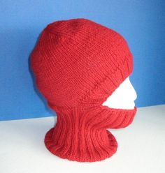 Red Wool Knit Helmet Liner, Balaclava, or Ski Mask by MFcrafts, $35.00