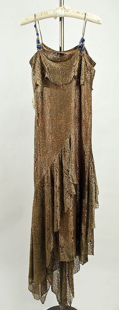 silk evening dress with metallic embroidery, beading and handkerchief hem, ca 1928-1929, MMA collection