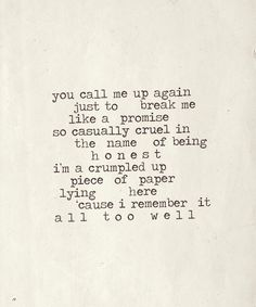 """""""All Too Well"""" by Taylor Swift"""