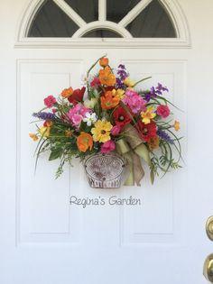 Spring Wreath-Spring Door Basket-Summer by ReginasGarden on Etsy