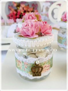 Sweet Buffet & Co 's Birthday / Shabby chic - Photo Gallery at Catch My Party Shabby Chic Birthday Party Ideas, Sweet Buffet, First Birthdays, Birthday Parties, Candy, Flower, Birthday Crowns, Treats, Princess