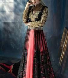 Buy Pink and black georgette embroidered semi stitched salwar with dupatta party-wear-salwar-kameez online