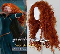 """New MERIDA BRAVE Movie Disguise 28"""" Long Orange Curl Cosplay Wig in Clothing, Shoes & Accessories, Women's Accessories, Wigs, Extensions & Supplies 