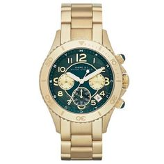 Marc by Marc Jacobs Gold and Bluish/Green Face Watch #MarcJacobs #MarcbyMarcJacobs