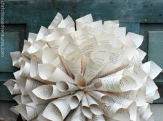 DIY Rolled Book Page Wreath Tutorial. Cute home decor!