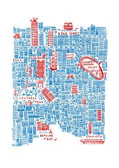 Hong Kong Chinese Typography, Graphic Design Typography, Map Design, Travel Design, Hong Kong Art, Screen Printing Shirts, Screen Design, Travel Maps, Map Art