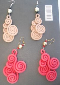 Easy Polymer Clay, Polymer Clay Pendant, Polymer Clay Creations, Polymer Clay Earrings, Fabric Roses Diy, Diy Macrame Earrings, Terracotta Jewellery, Polymers, Clay Tutorials