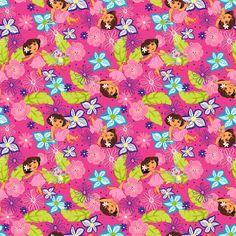 1 Yard DORA The EXPLORER Cotton Fabric Pink BTY Hawaiian