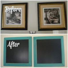 Have pictures that no longer fit your decor? Turn them into a chalk board! Use the chalk board for your own decor, or sell them! You will make more money selling a cute, distressed chalkboard than you would selling your wall art. Here's a how to~michellemuckala.com