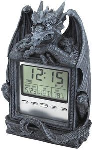Medieval Winged Dragon Guardian of LCD Alarm Time. Gothic Clock Home Products.