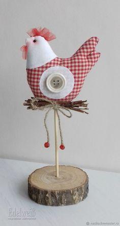 Felt Crafts, Easter Crafts, Crafts For Kids, Diy Crafts, Wood Log Crafts, Primitive Crafts, Felt Christmas, Christmas Crafts, Chicken Pattern