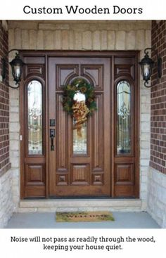 Solid wood doors are good if you reside in a period home or would like to add more timeless charm to your house. Whether you select cont. Home Door Design, Wooden Door Design, Main Door Design, Front Door Design, Front Door Decor, Wooden Doors, Slab Doors, Exterior Patio Doors, Exterior Doors With Glass