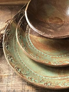 Native Mandala Dinnerware Plate Set ~ Turquoise & Brown ~ Bohemian ...