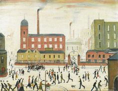 'street scene with mill' by L S Lowry The work of Laurence Stephen Lowry reminds me of the illustrations of Virginia Lee Burton. Salford, Virginia Lee Burton, English Artists, British Artists, Spencer, David, Naive Art, Art Studies, Heart Art