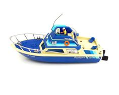 Vintage Toy Boat Blue & White Bayliner Yacht by OceansideCastle
