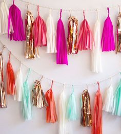 Custom Paper Tassel Garland | Bedeck your walls or wedding with whatever hues you choose wit... | Wreaths & Garlands