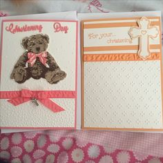 A couple of A6 christening cards using stampin' ups baby bear and all Gods grace stamp sets and flirty flamingo and peekaboo peach ribbon, ink and card stock.