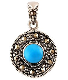 #Stylish sterling silver pendant decorated with round turquoise and marcasite gemstones with fine details throughout.  #houseofaudrey