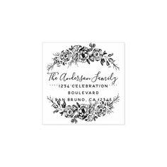 Chic Floral Wreath | Custom Script Return Address Rubber Stamp #personalized #rubberstamps Create Your Own, Create Yourself, Custom Rubber Stamps, Wood Stamp, Gift Labels, Self Inking Stamps, Ink Pads, Grafik Design, Return Address