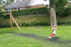 diy zipline how to build ; diy zipline without trees ; Natural Playground, Backyard Playground, Backyard Games, Backyard For Kids, Backyard Patio, Backyard Zipline, Playground Ideas, Diy Zipline, Zip Line Backyard