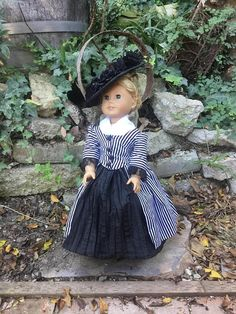 Eighteenth Century En Forreau Gown with Hat and Petticoat for American Girl $40.00