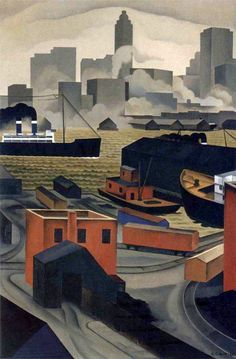 From Brooklyn Heights George Copeland Ault Wholesale Oil Painting China Picture Frame 39795 Urban Landscape, Landscape Art, Landscape Paintings, Pop Art, Portraits, Henri Matisse, Dieselpunk, Elementary Art, American Artists