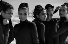 "Unique Beauties"" Afef Jnifen, Pooja Mor, Elisa Sednaoui, Samantha Ellsworth & Kenza Fourati photographed by Peter Lindbergh for Vogue Italia 2016"