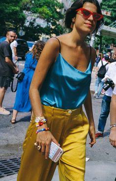 Leandra Medine in a vibrant, color blocked look. The best street style looks from New York Fashion Week. Photographed by Phil Oh.