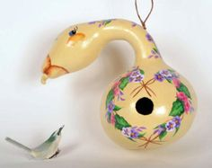 Hand Painted Gourd Goose Birdhouse, Decorative Gourd Art