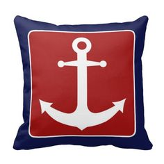 Nautical Anchor - Red White and Blue Throw Pillow