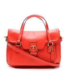 My favorite Grandma loved orange. <3 Hot Orange Eva Flap Crossbody Leather Satchel by Coach #zulilyfinds
