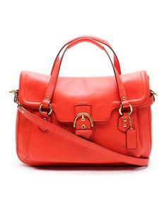 My favorite Grandma loved orange. <3 Hot Orange Eva Flap Crossbody Leather Satchel by Coach #zulilyfinds