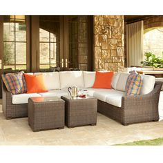 This wicker outdoor sectional features a unique 'Bark-Like' texture that provides a rustic style. The cushions can be custom ordered in 250+ outdoor fabrics. We offer free nationwide shipping and the lowest prices.