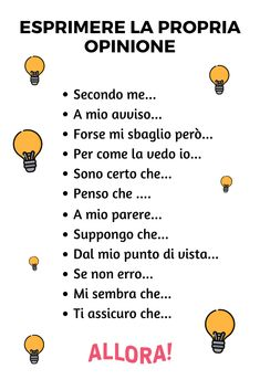 How to express your opinion in Italian Italian Lessons, French Lessons, Spanish Lessons, Italian Phrases, Italian Words, Italian Vocabulary, Vocabulary Words, Teaching French, Teaching Spanish