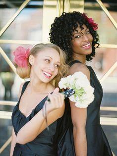 Black Taffeta Bridesmaids | www.weddingtonway.com | ameliajohnsonphotography.blogspot.com