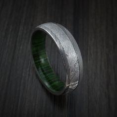 Damascus Steel Ring with Gibeon Meteorite and Jade Hardwood Sleeve Custom Made Band