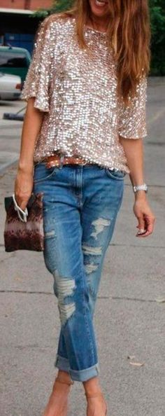 #gold #sequin top jeans street style #outfit