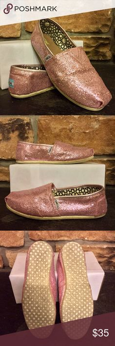Pink glitter TOMS Worn once, beautiful but WAY too tight for the marked size 9. Would fit an 8.5 best or a size 8 with wide feet. TOMS Shoes Flats & Loafers