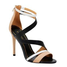 NERYS - ENZO ANGIOLINI Support your feet from heel to toe, with elegant cut out contrasting straps that contour the foot. An flattering open toe with an accessible zip-up back. Leather upper, 12cm heel height.