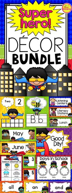Organize your classroom this year with this fun and colorful SUPERHERO classroom decor set:) Such gorgeous clip art!