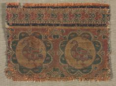 Silk fragment, 500's-600's. Iran, Sasanian period, 6th - 7th period, compound twill weave, silk, Overall - h:8.30 w:11.40 cm (h:3 1/4 w:4 7/16 inches). Gift of The Textile Arts Club 1951.88