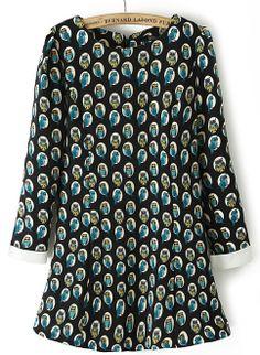 Blue Long Sleeve Owl Print Chiffon Dress EUR€24.52